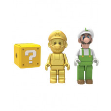 SUPER MARIO 3 PACK BUILDABLE FIGURE GOLDEN MARIO FIRE LUIGI AND MISTERY FIGURE